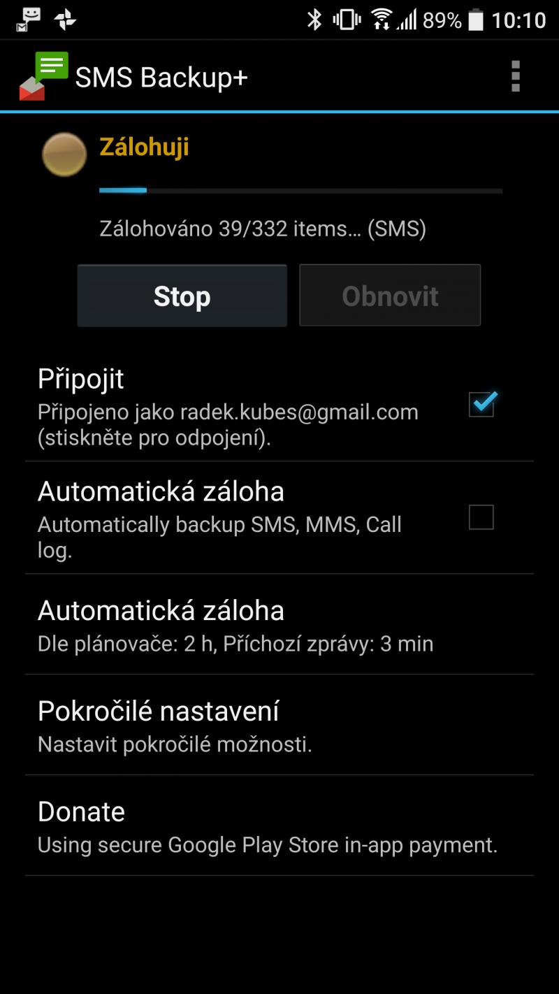 Připojte si gmail k zobrazení
