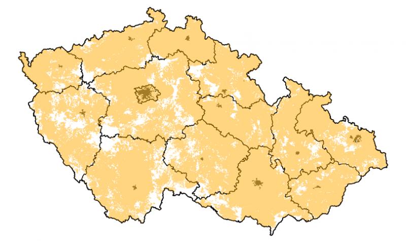 Mapa pokrytí ČR sítě LoRa