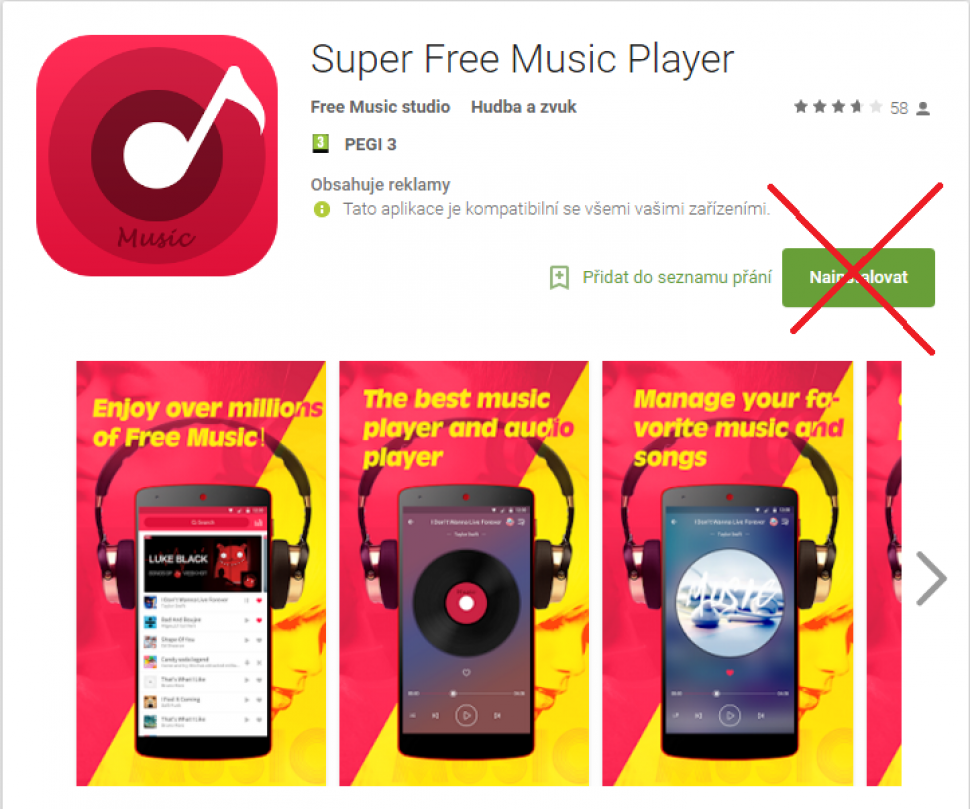 Nestahujte Super Free Music Player