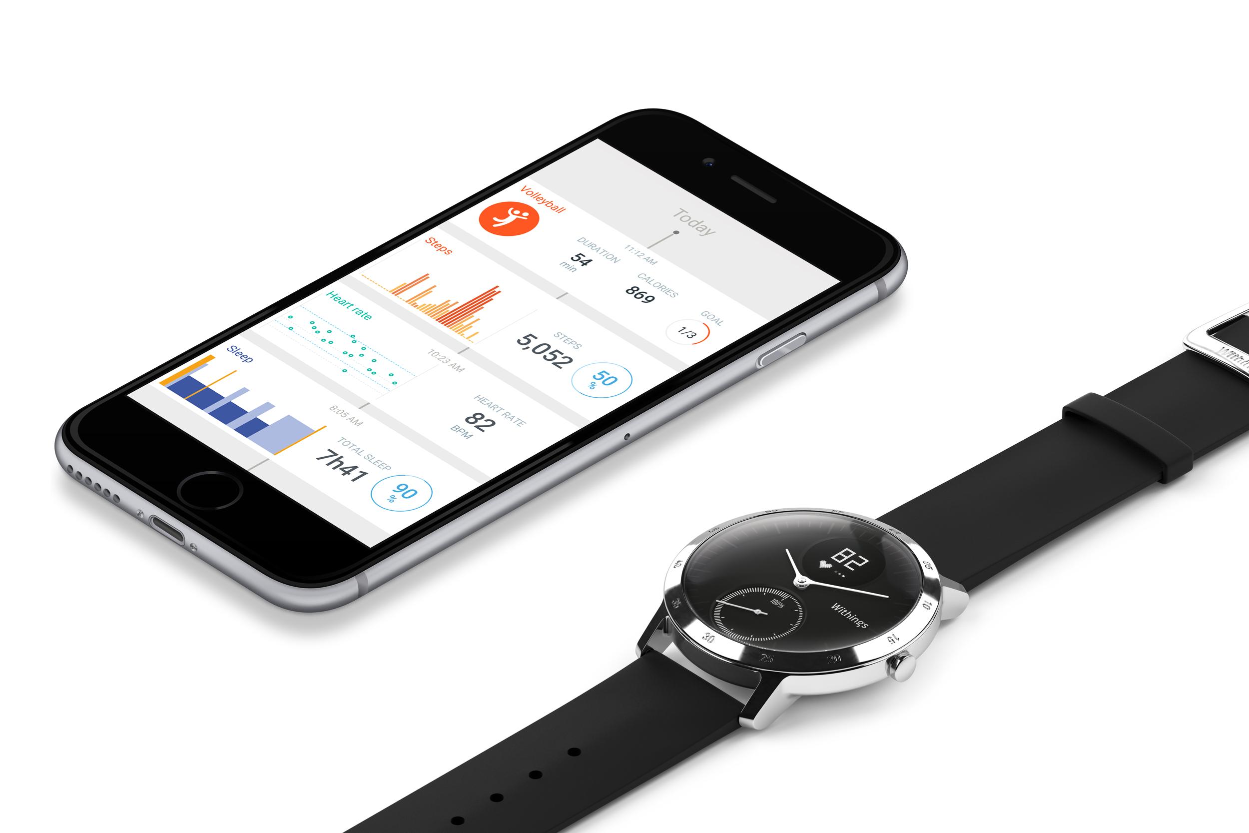 Hodinky Steel HR komunikují bezdrátově s mobilní aplikací