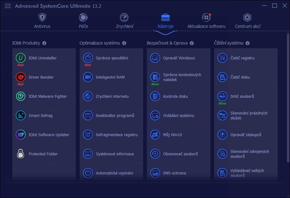 Základní funkce aplikace Advanced SystemCare doplňuje rozsáhlá sada nástrojů, které si jednoduše instalujete kliknutím na jejich ikonu. Po kliknutí na ikonu v pravém horním rohu si můžete nejčastěji používané nástroje označit jako oblíbené a mít k nim jednodušší přístup.