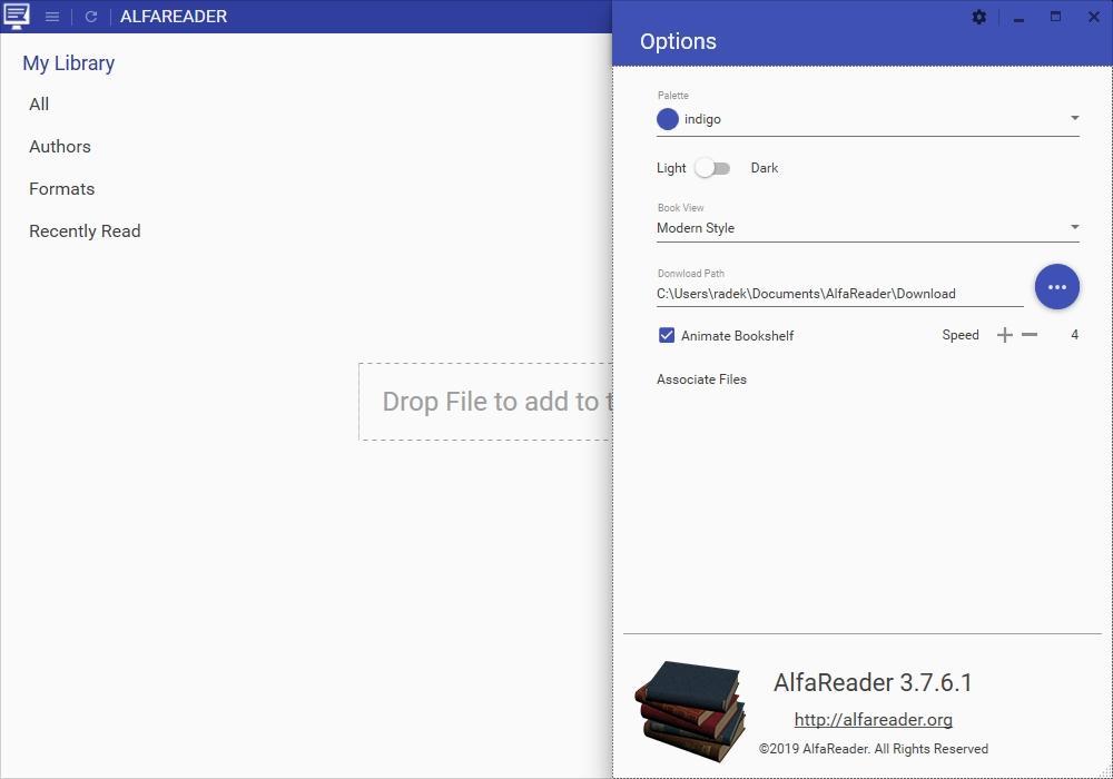 V nastavení čtečky e-knih AlfaReader si můžete zvolit barvu uživatelského rozhraní (okrajů okna) aplikace nebo přepínat světlý a tmavý vzhled čtečky. Předvolba »Animate Bookshelf« řídí rychlost animace knihovny e-knížek, ale pro zrychlení ji můžete i deaktivovat.