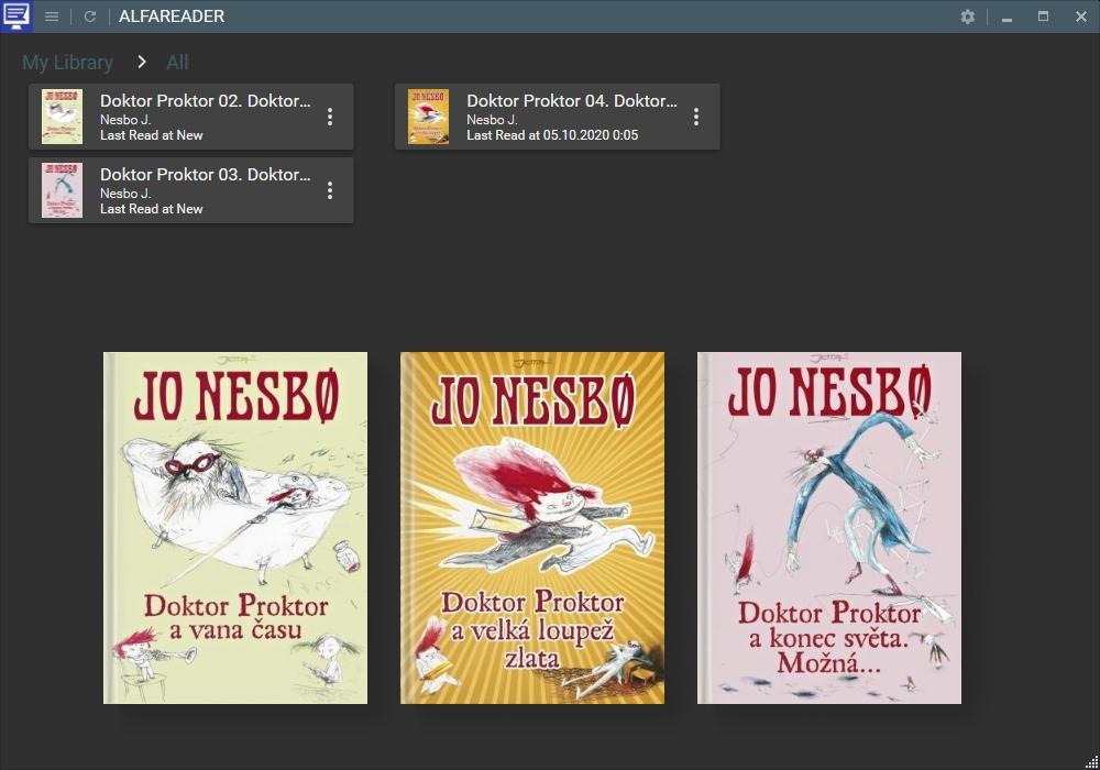 Výchozí pohled na knihovnu aplikace AlfaReader může zobrazovat knižní tituly podle jejich názvu, řazené dle autora nebo vám nabídnout naposledy přidané e-knihy. Nové e-knihy stačí pouze jendoduše přetáhnout myší do okna aplikace AlfaReader.