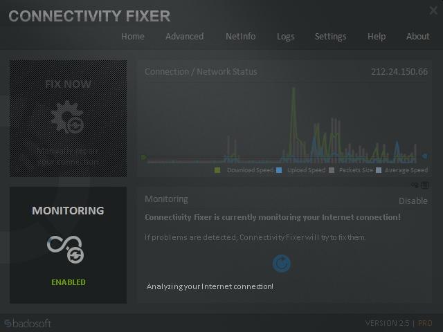 Po svém spuštění začne Connectivity Fixer automaticky sledovat aktuální využití internetového připojení vašeho počítače. Kliknutím na tlačítko »Monitoring« v levé dolní části okna aplikace spustí analýzu připojení, která má odhalit případné potíže s používáním internetu.