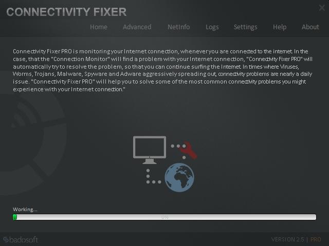 Jestliže analýza připojení zjistí nějaké problémy s připojením k internetu, pokračujte kliknutím na tlačítko »Fix now«, kterým spustíte jejich automatickou opravu s pomocí funkcí aplikace Connectivity Fixer. Detaily ohledně internetového připojení pak najdete také v nabídce »NetInfo«.