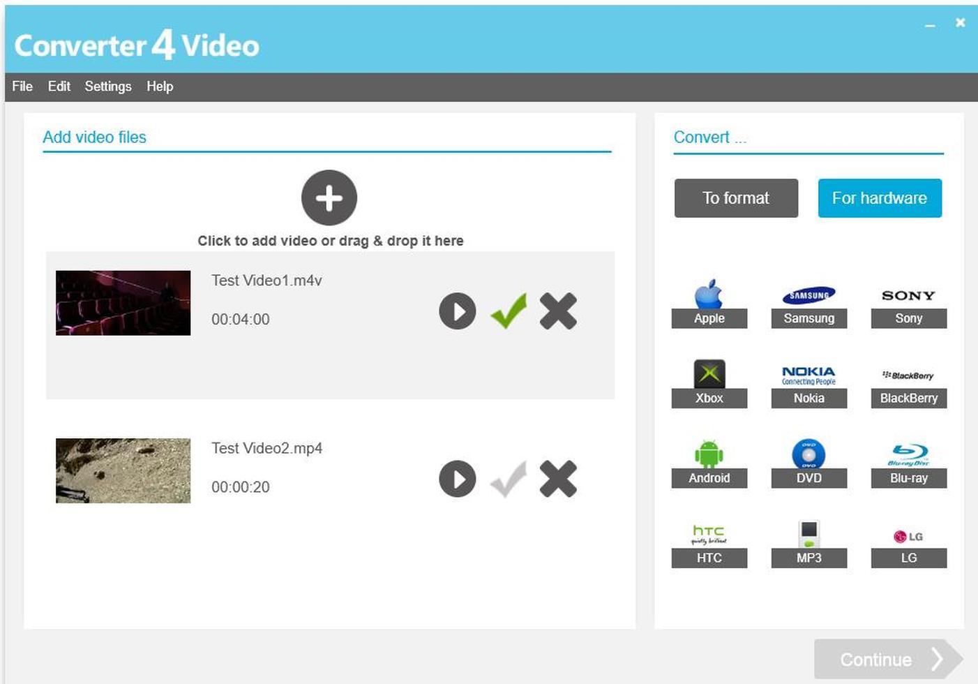 Žádné nastavování: Pro co nejrychlejší a nejjednodušší konverzi zahrnuje Converter4Video nabídku přednastavených profilů. Stačí tedy přetáhnout video soubory do levé části hlavní okna, v pravé části vybrat patřičné zařízení a nechat program zařídit zbytek.