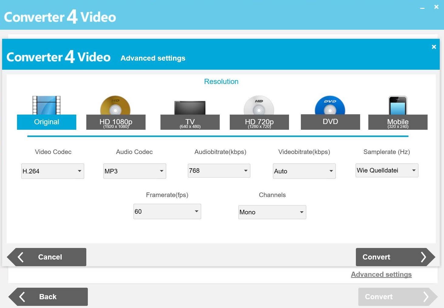 Do detailu: Veškeré parametry je možné v případě potřeby libovolně konfigurovat, po volbě výstupního formátu je na výběr několik přednastavených úrovní kvality nebo tlačítko »Advanced settings«. Jeho prostřednictvím se přistupuje k pokročilým nastavením výstupu včetně rozlišení, snímkové frekvence a audio/video bit rate.