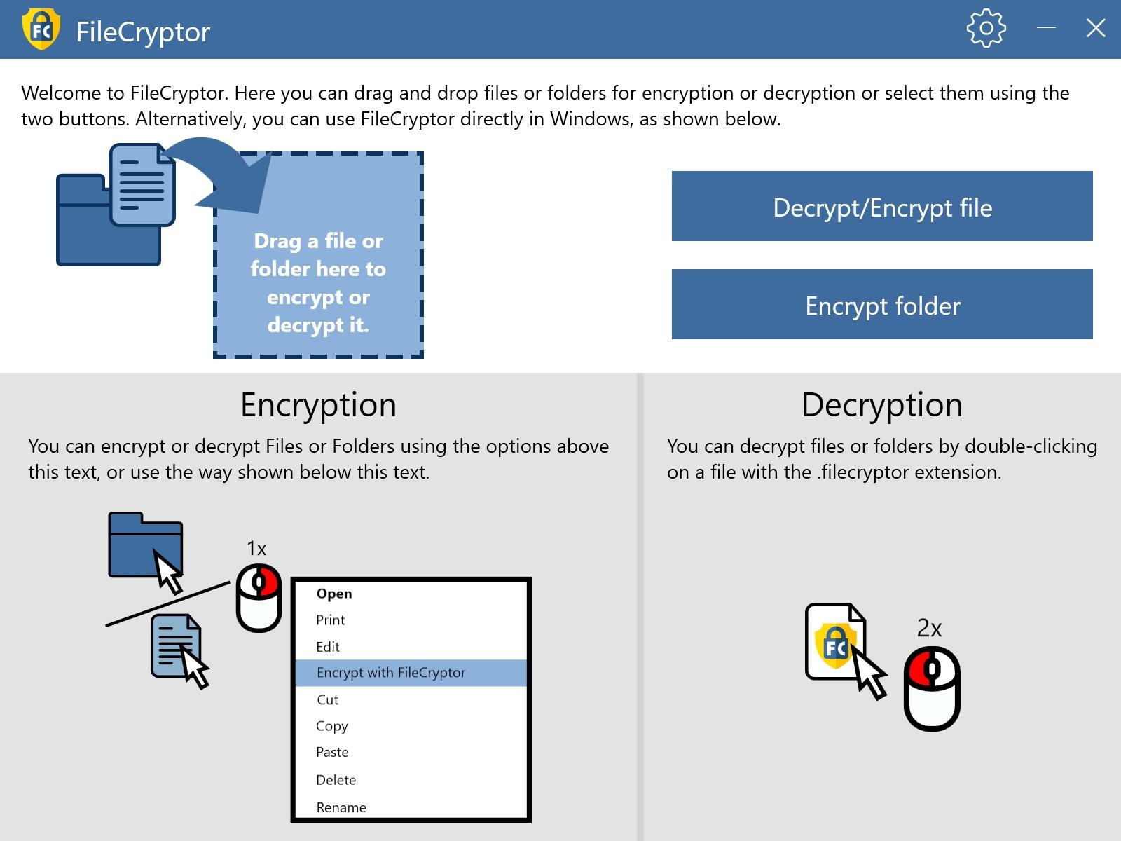 FileCryptor je užitečný nástroj pro snadné a rychlé šifrování a dešifrování souborů ve Windows. Pro pohodlnější ovládání se program integruje i do kontextové nabídky ve Windows.