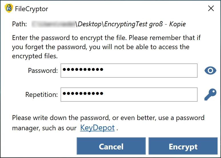 Pokud chcete použít bezpečnější způsob, kliknutím na ikonu klíčku si nechte heslo vygenerovat. Každé heslo si někam dobře poznamenejte, jinak byste se nedostali do šifrovaných dat. Výrobce programu doporučuje vlastního správce hesel KeyDepot, který je rovněž připraven v plné verzi.