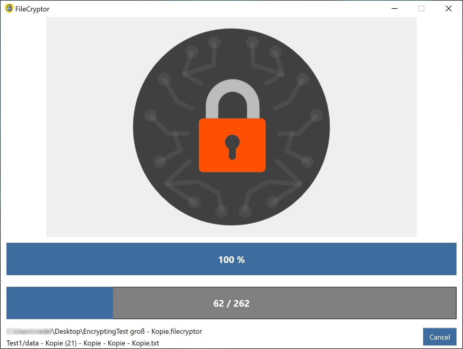 Program lze použít pro přenos zabezpečených dat šifrováním na USB flash discích nebo při posílání e-mailem. Pokud váš přenosný disk ztratíte nebo se do vaší pošty nebo počítače dostanou hackeři, budou jim zašifrované soubory k ničemu.