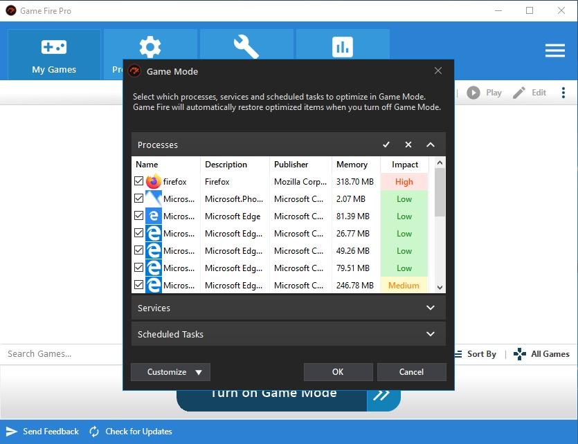 Jestliže se nechcete nijak zvlášť zabývat konkrétními nastaveními optimalizace výkonu vašeho počítače prostě jen použijte tlačítko »Turn on Game Mode« v hlavním okně aplikace Game Fire. Proběhne rychlá analýza běžících procesů a služeb a v následujícím okně můžete pokračovat volbami »Check All« a »OK«.