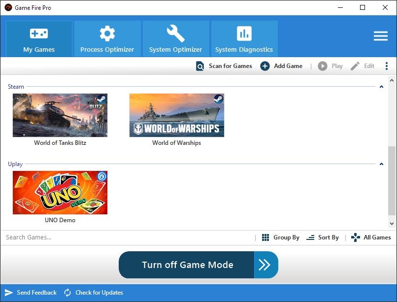 Pro různé herní tituly si můžete připravit odlišné profily nastavení optimalizace výkonu. Game Fire přitom řeší například zastavení aktuálně nepotřebných služeb na pozadí operačního systému, dočasné omezení podpory připojeného hardwaru nebo vypnutí grafických efektů a některých funkcí Windows.