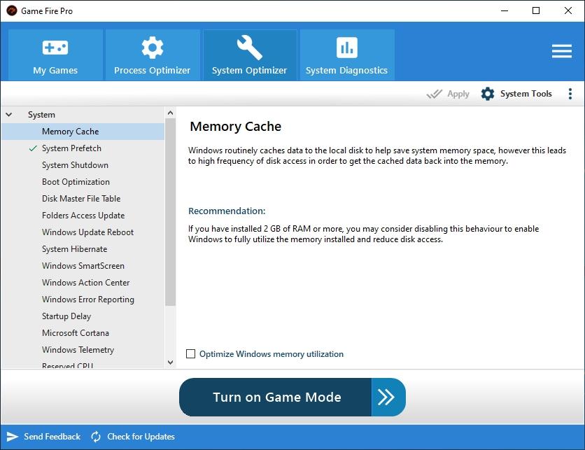 Game Fire obsahuje i různé optimalizační funkce, použitelné bez ohledu na to, jestli na svém počítači hrajete hry, nebo jen pracujete s běžnými programy. Najdete je pod volbou »System Optimizer« a patří mezi ně třeba zrychlení spouštění a vypínání počítače, optimalizace připojení k internetu nebo vypnutí nepotřebných funkcí Windows.