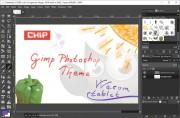 Nové rozhraní GIMPu tak, jak jste zvyklí z Photoshopu. Nastavení nástrojů vpravo nahoře, uprostřed vrstvy, kanály a histogram, celkově tmavší pozadí, které šetří oči a nezkresluje barevné vnímání obrázku.