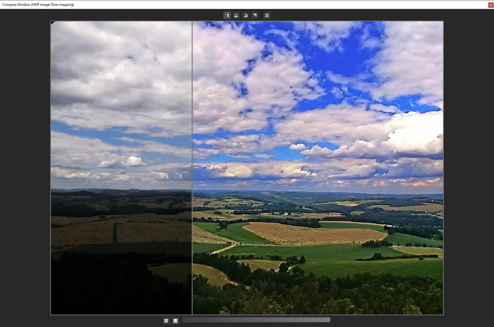 Rychlé porovnání celého snímku před a po provedení změn umožňuje samostatné okno »Compare Window« s chytrým posuvníkem přímo na náhledu fotografie. Posuvník může být nejen klasicky svislý, ale i vodorovný a v podobě uhlopříčky, měnit pak můžete i pozici zobrazení originálního snímku a snímku po úpravě.