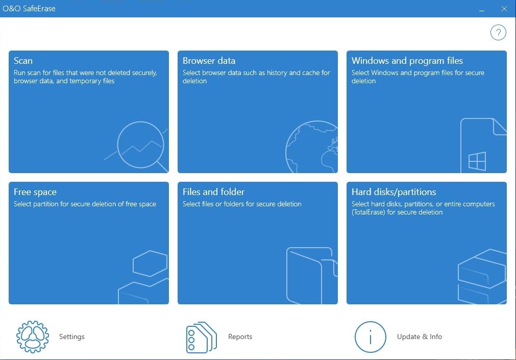 V hlavním okně programu O&O SafeErase uvidíte přehled všech funkcí této aplikace. Jde především o bezpečné mazání jednotlivých souborů a složek, celých pevných disků a pak také pozůstatků po surfování v běžných internetových prohlížečích.