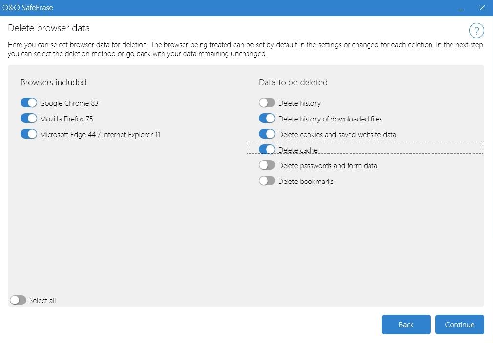 O&O SafeErase podporuje prohlížeče Chrome, Firefox a také Microsoft Edge. Sami si můžete vybrat, ve kterých prohlížečích a jaká data bude tento program vyhledávat a mazat. V dalším kroku si pak zvolíte, jakou metodu skartování O&O SafeErase použije.