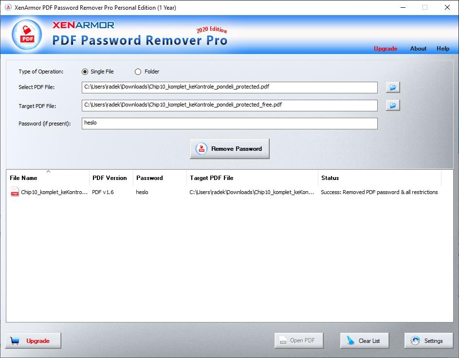 Odstranění ochrany PDF dokumentů s použitím programu XenArmor PDF Password Remover Pro je také velmi snadné. Zvolíte zamknutý dokument, vložíte příslušné heslo a pokračujete kliknutím na »Remove Password«. Původní PDF soubor nebude přepsán, ale vytvoří se jeho kopie bez ochrany heslem.
