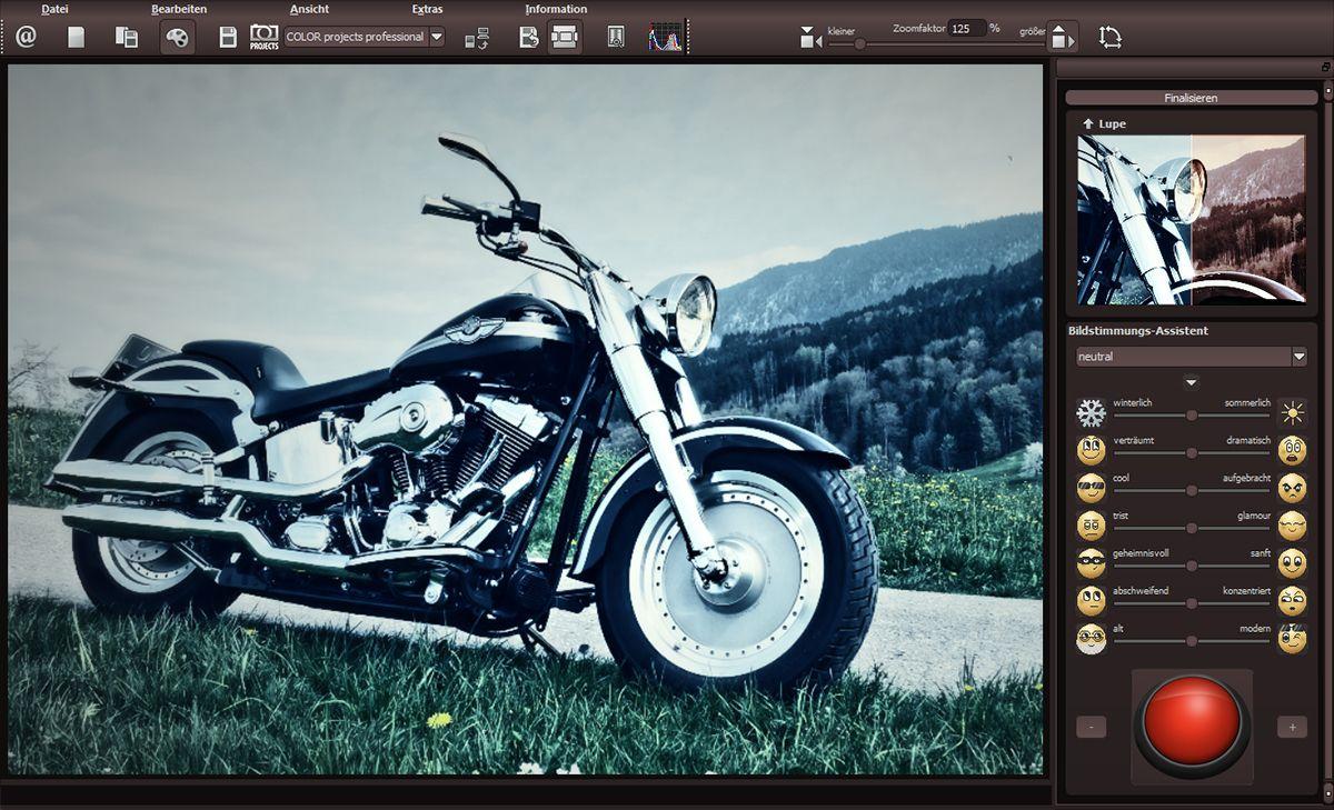 """Jako již obvykle v případě fotoeditorů od společnosti Franzis najdete předpřipravené šablony v levé části okna programu, uprostřed okna je zobrazen náhled snímku po aplikaci vybrané šablony a další """"ruční"""" nastavení a úpravy se pak provádí pomocí panelu nástrojů umístěném v pravé části okna."""