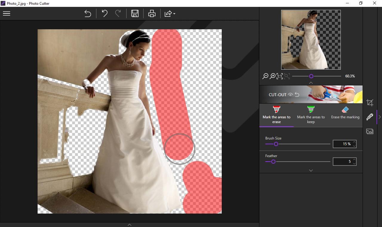 Ořezávání objektů (typicky postav) na snímcích, je s programem inPixio Photo Cutter velmi snadné. V nabídce »Cut-out« si zvolíte buďto červený značkovač na označení oblastí ke smazání, nebo zelený na obtažení míst, které mají na snímku zůstat. O zbytek se program postará automaticky.