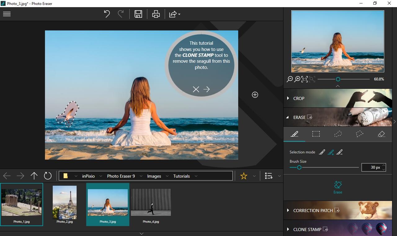 K odstranění nežádoucích objektů z fotek můžete v aplikaci inPixio Photo Eraser použít především funkce »Erase« a »Correction patch« k doladění výsledku pak slouží funkce klonovacího razítka »Clone stamp«. Automatická funkce ale zpravidla funguje výborně.