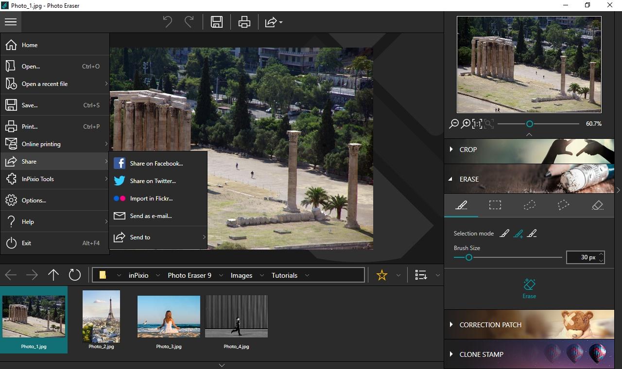 Hotové fotky ukládá inPixio Photo Eraser ve standardních formátech JPG a TIFF, ale také můžete snímky přímo z aplikace sdílet na Facebooku, Twitteru, vystavit na serveru Flickr a také odeslat v příloze e-mailu. Také je můžete rovnou otevřít v aplikaci inPixio Photo Cutter.