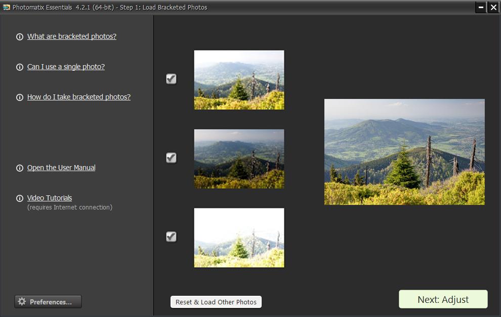 Hlavní okno programu je vlastně jednoduchým průvodcem, pomocí kterého ve třech krocích vytvoříte HDR snímek. V prvním kroku je nejprve potřeba vyhledat a vložit sérii fotografií s různou expozicí. V této verzi programu je možno pro vytvoření HDR snímku použít maximálně pět zdrojových fotografií.