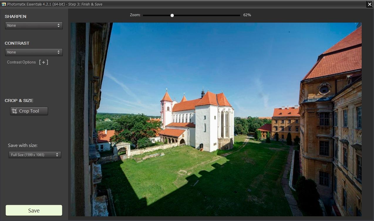 V posledním kroku průvodce vytvořením HDR snímku můžete ještě upravit zaostření a kontrast, oříznout snímek a případně vybrat jiné rozlišení. Nakonec je potřeba výsledný výslednou fotografii uložit – program nabízí buď standardní formát JPG nebo 8bitový a 16bitový TIF.