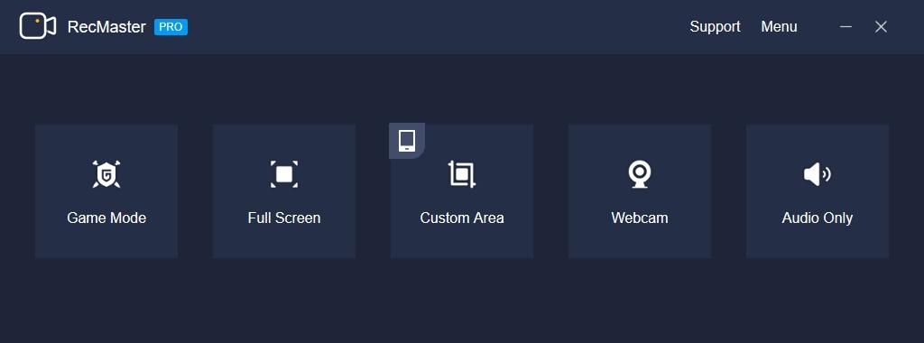 Program RecMaster nabízí hned několik různých režimů záznamu. Jde o režim pro záznam her, nahrávání z celé obrazovky či obsahu vybraného okna a také přímý záznam videa z webkamery. Někdy si asi vystačíte jen se záznamem zvuku, ke kterému slouží funkce »Audio only«.