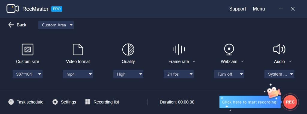 Dalším krokem po výběru režimu záznamu je nastavení parametrů videa. V programu RecMaster si můžete zvolit jeho rozlišení, formát a kvalitu, přesně vyjádřenou datovým tokem. Dále se můžete rozhodnout, zdali bude videozáznam zahrnovat i obraz z webkamery a také určit zdroj zvuku.