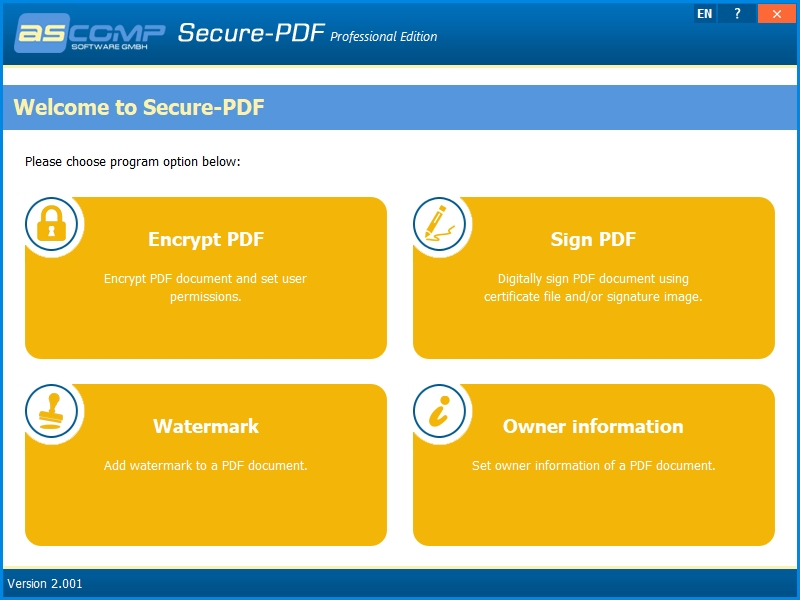 Program Secure-PDF má čtyři hlavní okruhy funkcí – zašifrování obsah PDF souborů, vložení vodoznaku, opatření PDF dokumentů digitálním podpisem a pak také doplnění informací o tvůrci daného PDF souboru. Použití těchto funkcí je velmi snadné.