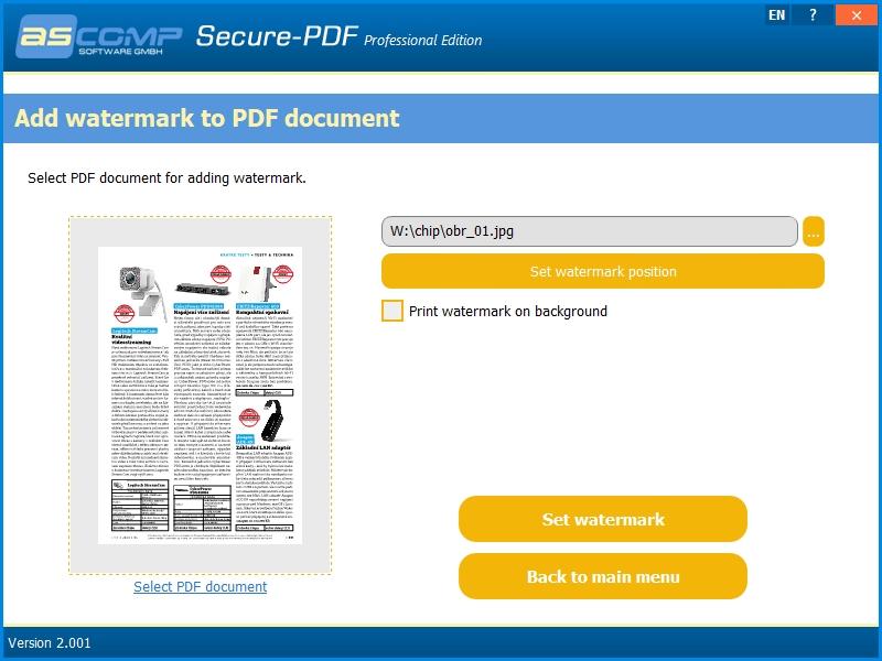 Secure-PDF umí jako vodoznak vložit do PDF dokumentu prakticky libovolný obrázek, jehož velikost a umístění si sami upravíte v náhledu stránky, kterou chcete vodoznakem opatřit. Textové vodoznaky Secure-PDF do PDF souborů vkládat neumí.