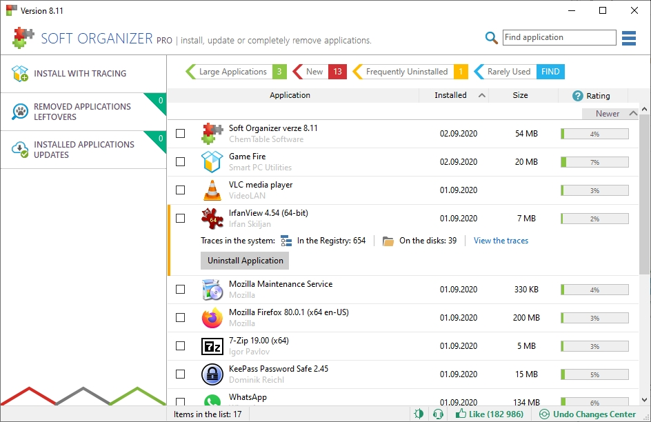 U programů k odinstalaci vyhledá Soft Organizer všechny související záznamy v registru i soubory na disku počítače. Po samotné odinstalaci ještě důkladně vyčistí počítač od pozůstatků. Soft Organizer vám pomůže i s programy, které si chcete nechat – vyhledává k nim totiž čerstvé aktualizace.