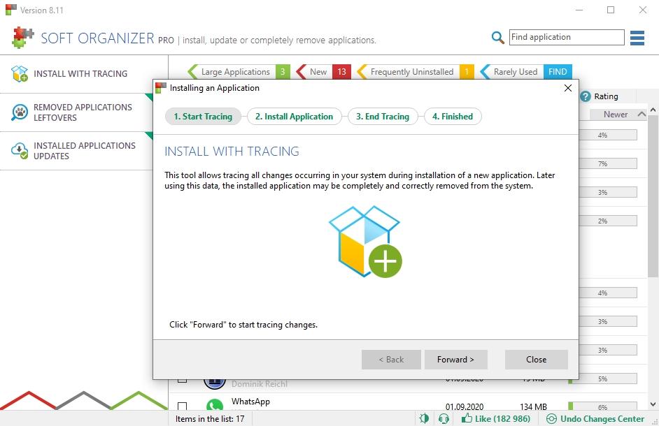 Při instalaci nových programů vytvoří Soft Organizer záznam provedených změn na disku a v registru, který můžete později použít k pečlivému odinstalování dále nepotřebných programů. Důležité je instalovat nové programy vždy právě prostřednictvím aplikace Soft Organizer.