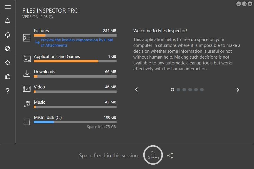 Hned po spuštění provede Files Inspector analýzu obsahu disku a zobrazí, jakou kapacitu zabírají různé typy dat. Kliknutím na hlavní kategorie dat se dostanete k podrobnějším výsledkům s přehledem velikosti konkrétních souborů. Nepotřebné soubory můžete rovnou smazat.