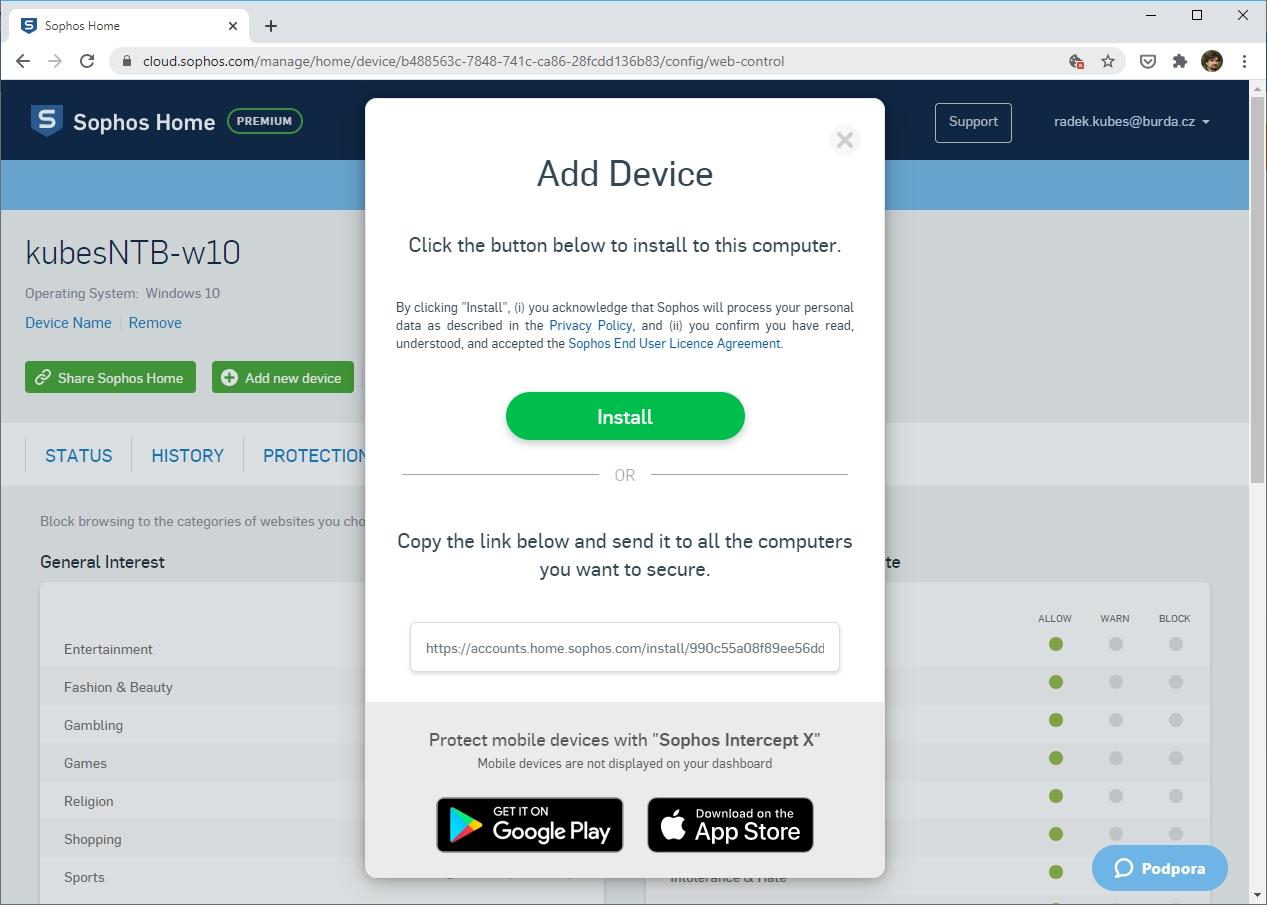 Licence plné verze programu Sophos Home Premium umožňuje ochránit celkem 10 zařízení. Může přitom jít o počítače s Windows a macOS, stejně jako smartphony a tablety s Androidem a iOS. Příslušná aplikace pro mobilní zařízení se jmenuje Sophos Intercept X.