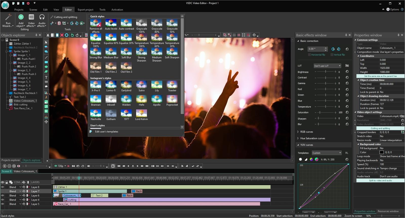 Funkce na úpravy jednotlivých scén najdete na kartě »Edit«, zatímco karta »Editor« obsahuje nástroje na stříhání a úpravy (aplikaci filtrů, efektů atd.) celých videoklipů. Rovněž zde nechybí přechodové efekty mezi záběry nebo nabídka efektů pro zvukovou stopu filmu.