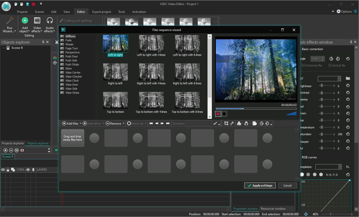 Nejen pro začátečníky může být tvorba vlastního filmu náročná a naučit se perfektně ovládat jakýkoli program na střih a pokročilou editaci videa zabere hodně času. Proto VSDC Video Editor nabízí i funkci průvodce, ve kterém stačí jen poskládat jednotlivé záběry a vložit mezi ně přechodové efekty. Najdete ji pod tlačítkem »Run Wizard«.