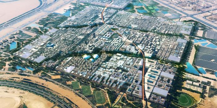 Město Masdar, postavené v poušti 17 kilometrů jihovýchodně od Abú Dhabí.