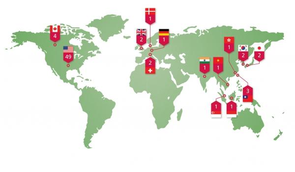 Na mapě počet cíků útoku v jednotlivých zemích světa.