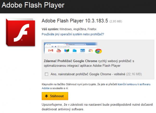Ikdyž proti Google Chrome ničeho nemáte, nejspíše nechtete přiinstalaci Flashe stahovat zbytečně 22MB navíc…