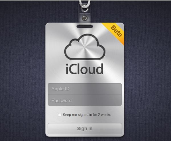 Přihlášení k iCloud.com