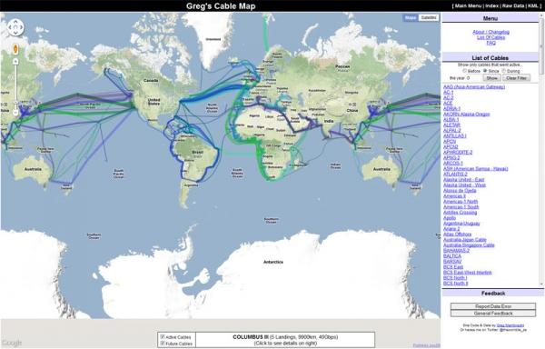Mapa podmořských komunikačních kabelů postaven na Google Maps