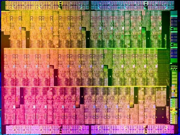 """Snímek koprocesoru s kódovým jménem """"Auburn Isle"""", který má architekturu MIC a je srdcem řešení"""