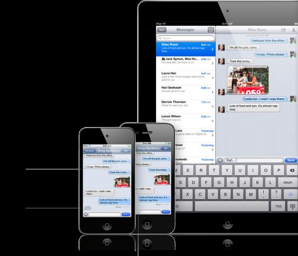 Aplikace iMessage - služba zasílání zpráv, která umožňuje snadné posílání textových zpráv, fotografií a videí mezi zařízeními se systémem iOS.