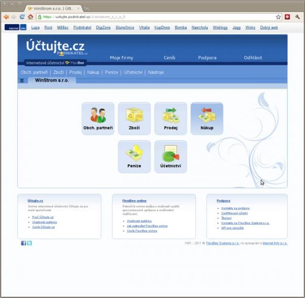 Účtujte.cz - úvodní stránka internetové účetnictví