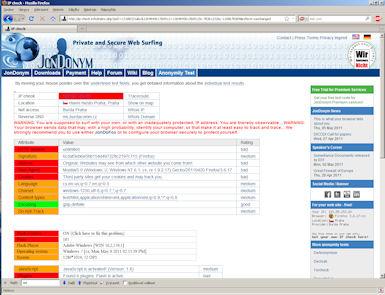 Na serveru ip-check.info najdete test, který vám ukáže co vše lze o vás a vašem počítači zjistit...