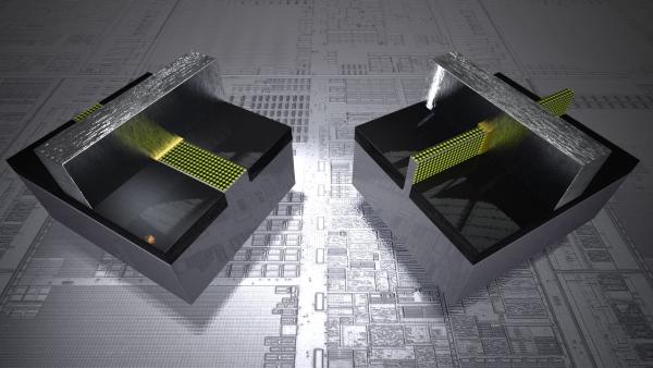 Porovnání 32nm tranzistoru a 22nm 3-D Tri-Gate tranzisotoru (vpravo)