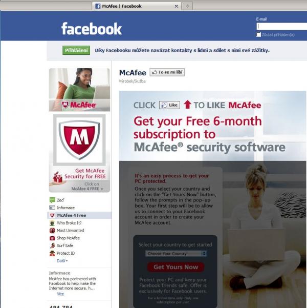 Na Facebooku můžete dostat zdarma na půl roku McAfee AntiVirus Plus.