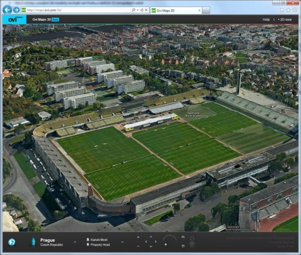 Strahovský stadion, v pozadí vysokoškolské koleje